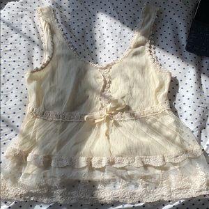 Cream lace babydoll top